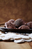 Chocolate Ice Cream on a Plate Royalty Free Stock Photo
