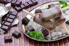 Chocolate ice cream popsicles. Stock Photo