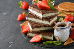 Chocolate ice cream sandwich. On a gray background Stock Image