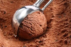 Chocolate ice cream scoop. Closeup image of chocolate ice cream scooped out of the container Stock Photo