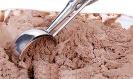 Chocolate ice cream scoop. Royalty Free Stock Photography