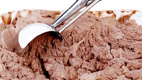 Chocolate ice cream with scoop Royalty Free Stock Photos