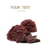 Chocolate ice cream scoops Stock Photos