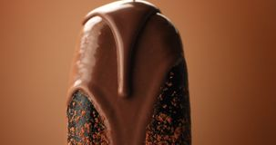 Chocolate ice cream on a stick and liquid chocolate covered it. Different chocolate textures Stock Photography
