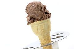 Chocolate ice cream in sugar cone Royalty Free Stock Image