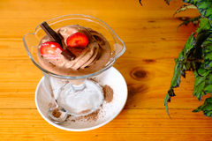 Chocolate ice cream in a sundae dish, top view Royalty Free Stock Photos