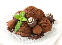 Chocolate ice cream and truffles Stock Photography