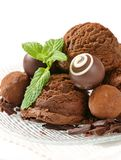 Chocolate ice cream and truffles Royalty Free Stock Photo