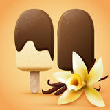 Chocolate ice cream with vanilla flavour. Realistic chocolate ice cream with vanilla flavour. Summer vector illustration Royalty Free Stock Image