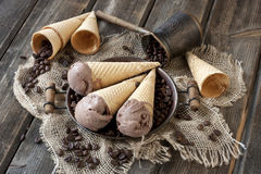 Chocolate ice cream  on  wafer cone Stock Photos