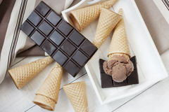 Chocolate ice cream  on  wafer cone Royalty Free Stock Images