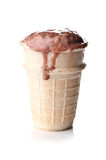 Chocolate ice cream in a waffle cup Royalty Free Stock Photography