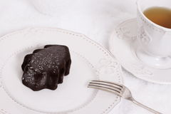 Chocolate ice dessert in form of Christmas tree Royalty Free Stock Photography