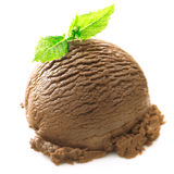 Chocolate icecream ball with mint Stock Images