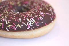 Chocolate iced donut. A chocolate iced donut with multicolored sprinkles royalty free stock image