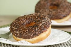 Chocolate iced doughnuts. Two chocolate iced doughnuts decorated with chocolate sprinkles Stock Image