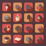 Chocolate icons flat Royalty Free Stock Image