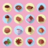 Chocolate icons flat Stock Images