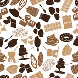 Chocolate icons seamless color pattern Royalty Free Stock Images