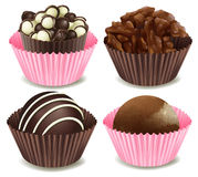 Chocolate. Illustration of chocolates in a pink and brown cup on a white background Stock Photos