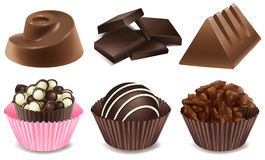 Chocolate. Illustration of many types of chocolate Royalty Free Stock Photography