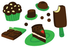 Chocolate Indulgent Dessert Set. With sweets, cake, ice cream, muffin and chocolate Stock Image