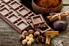 Chocolate with ingredients Royalty Free Stock Photography