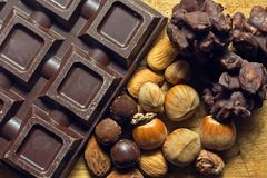 Chocolate with ingredients Royalty Free Stock Image