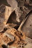 Cocoa mass and cocoa powder Royalty Free Stock Photos
