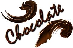 Chocolate inscription with splashes on white background. Royalty Free Stock Photo