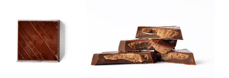Chocolate inside out. Piece of sweet milk chocolate with almond paste inside Royalty Free Stock Images