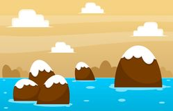 Chocolate Island Video Game Background. Chocolate island in the sea illustration for creating 2d video game background Royalty Free Stock Images