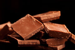 Chocolate isolated on black. HQ studio shot Royalty Free Stock Images