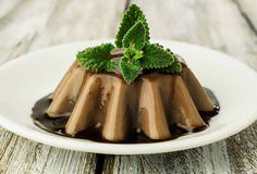 Chocolate jelly dessert  with mint Royalty Free Stock Images