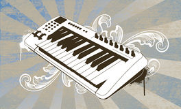 Chocolate Keys. Keyboard on detailed ray and floral background. All elements on separate layers, easily edited Stock Image