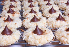 Chocolate Kiss Macaroons. On a cooling rack Royalty Free Stock Photos