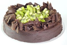Chocolate Kiwi Cake. Chocolate cake topped with Kiwi fruits Stock Photo