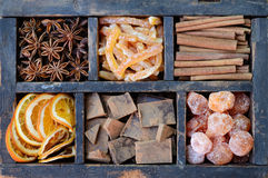 Chocolate, kumquats and spices Royalty Free Stock Photo