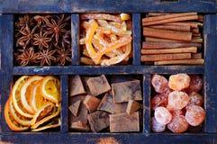 Chocolate, kumquats and spices set Stock Image