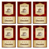 Chocolate labels Stock Photo