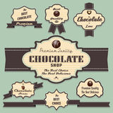 Chocolate labels and badges retro and vintage styl Stock Photo