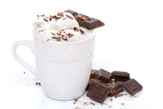 Chocolate Latte. Hot chocolate with candy white background Royalty Free Stock Photos