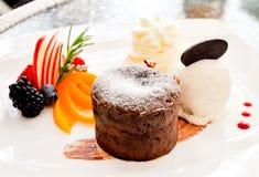 Chocolate Lava Cake Imagen de archivo libre de regalías