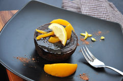 Chocolate Lava Cake on Black Plate Stock Images
