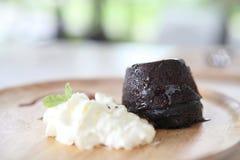 Chocolate Lava Cake with ice cream Royalty Free Stock Photo