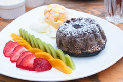Chocolate Lava Cake with ice cream. Stock Photo
