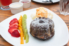 Chocolate Lava Cake with ice cream. Royalty Free Stock Photo