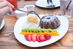 Chocolate Lava Cake with ice cream. Stock Images