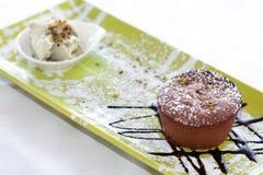 Chocolate Lava Cake With Pistachios Ice Cream Stock Image
