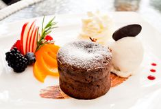 Chocolate Lava Cake. Recipe on the tablw Royalty Free Stock Image